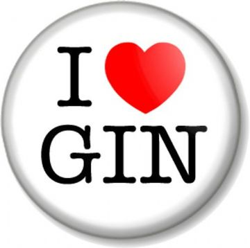 I Love / Heart GIN Pinback Button Badge favourite drink booze alcohol spirit